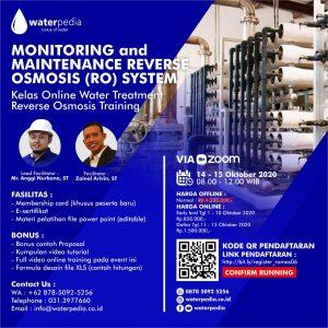 Training Pengolahan Air Bersih Reverse Osmosis Monitoring and Maintenece, 14-15 Oktober 2020 Waterpedia.co.id